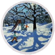 The Slide In Winter Round Beach Towel by Andrew Macara