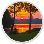 The Smiling Face Sunset Round Beach Towel