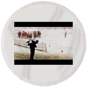 The Snow Game Round Beach Towel