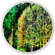 The Speckled Trees Round Beach Towel