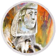The Sphinx Of Petraion Round Beach Towel