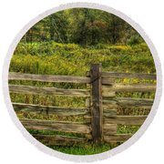 The Split Rail Meadow Round Beach Towel by Benanne Stiens