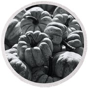 The Squash Harvest In Black And White Round Beach Towel