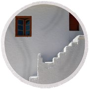 The Steps And The Window Round Beach Towel