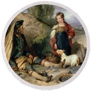 The Stone Breaker And His Daughter Round Beach Towel