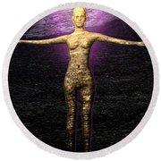 The Stoneborn Priestess Of Khufu Round Beach Towel