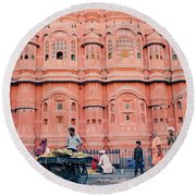 Street Life Of India Round Beach Towel