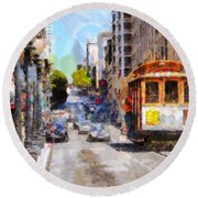 The Streets Of San Francisco . 7d7263 Round Beach Towel