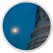 The Stupa In The Night During Full Moon Round Beach Towel