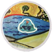 The Sun And A Boat Painting Round Beach Towel