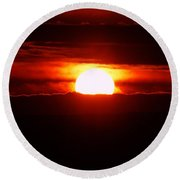 The Sun Falling Into Clouds Round Beach Towel