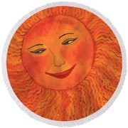 The Sun God Detail Of Red Sky At Night Round Beach Towel