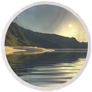 The Sun Sets On A Beautiful Round Beach Towel