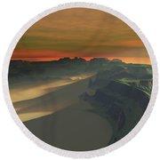 The Sun Sets On This Desert Landscape Round Beach Towel