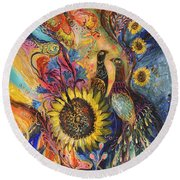 The Sunflower ... Visit Www.elenakotliarker.com To Purchase The Original Round Beach Towel
