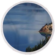 The Surface Of Crater Lake Round Beach Towel