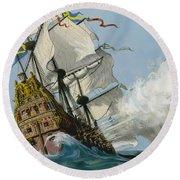 The Swedish Warship Vasa Round Beach Towel