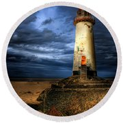 The Talacre Lighthouse Round Beach Towel