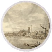 The Thames Looking Towards Westminster From Near York Water Gate  Round Beach Towel by Giovanni Antonio Canaletto