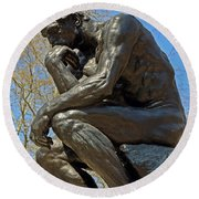 The Thinker By Rodin Round Beach Towel
