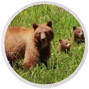 The Three Bears Round Beach Towel