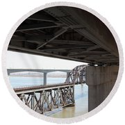 The Three Benicia-martinez Bridges In California - 5d18844 Round Beach Towel