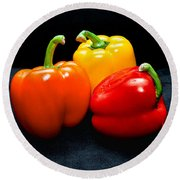 The Three Peppers Round Beach Towel