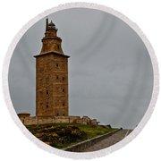 The Tower Of Hercules Round Beach Towel