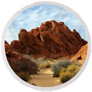 The Trail Through The Valley Round Beach Towel