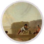 The Trapper's Return Round Beach Towel by George Caleb Bingham