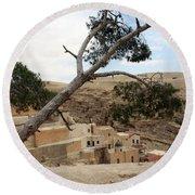 The Tree In Desert Round Beach Towel