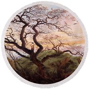 The Tree Of Crows Round Beach Towel