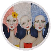 The Triplets Round Beach Towel