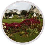 The Tuilleries Garden In Paris Round Beach Towel