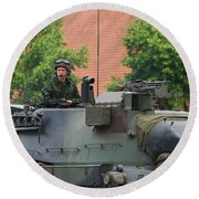 The Turret Of The Leopard 1a5 Main Round Beach Towel