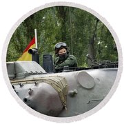 The Turret Of The Leopard 1a5 Mbt Round Beach Towel by Luc De Jaeger