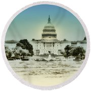 The United States Capital Building Round Beach Towel