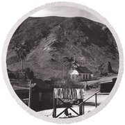 The Upper Village Of Calico Ghost Town Round Beach Towel