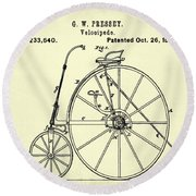 The Velocipede Patent 1880 Round Beach Towel