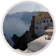 The View At Fira Round Beach Towel