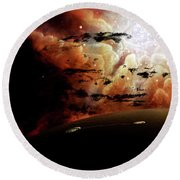 The View From A Busy Planetary System Round Beach Towel
