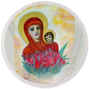 The Virgin And The Child Round Beach Towel