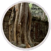 The Wall At Ta Prohm Round Beach Towel