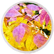 The Warm Glow In Autumn Abstract Round Beach Towel
