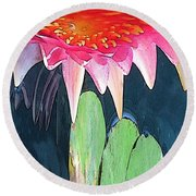 The Water Lily Unleashed Round Beach Towel