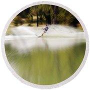 The Water Skier 1 Round Beach Towel