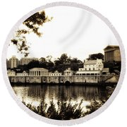 The Waterworks In Sepia Round Beach Towel