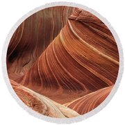 The Wave Into The Fold Round Beach Towel