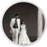 The Wedding Couple Round Beach Towel