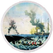 The Whale Fishery, 19th Century Round Beach Towel